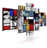 DekoArte 530 - Cuadros Modernos Impresión de Imagen Artística Digitalizada | Lienzo Decorativo para Salón o Dormitorio | Estilo Abstractos Moderno Arte Mondrian Colores Rojo | 5 Piezas 180 x 85cm XXL