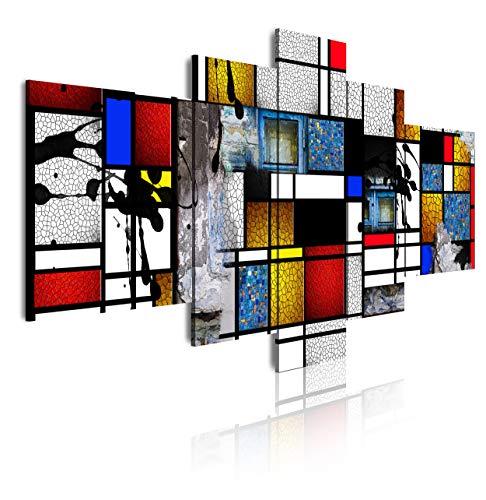 DekoArte 530 - Cuadros Modernos Impresión de Imagen Artística Digitalizada, Estilo Abstractos Moderno Arte Mondrian, Multicolor, 5 piezas XXL (180 x 85 x 3 cm)