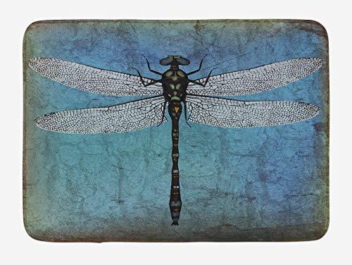 Tapis de Bain Libellule Grunge Vintage Vieille Toile de Fond et Libellule Bug Ombre Image Peluche Salle de Bain décor Tapis 50x80 cm