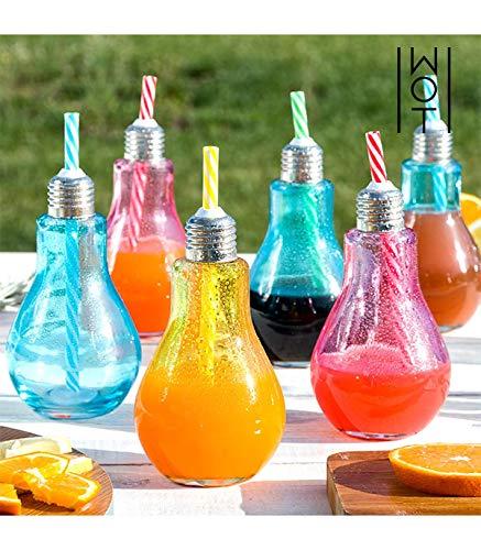 Vasos Bombilla Coloridos con Pajitas Wagon Trend 250 ml (pack de 6)