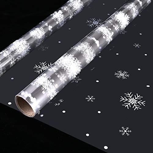 Faburo Zellophanfolie mit Schneeflocken, 4 m x 43 cm, 2 Rollen
