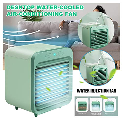 ZUYOKI 2020 Rechargeable Water-Cooled Portable Air Conditioner Humidifier Purifier Fan (Green, 122 x 108 x 142 mm)