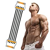 TOCO FREIDO Chest Expander, 5 Tubes Ajustable Arm Strength Trainer, Exercise Resistance Bands for Home Fitness Muscle Training (125lbs)