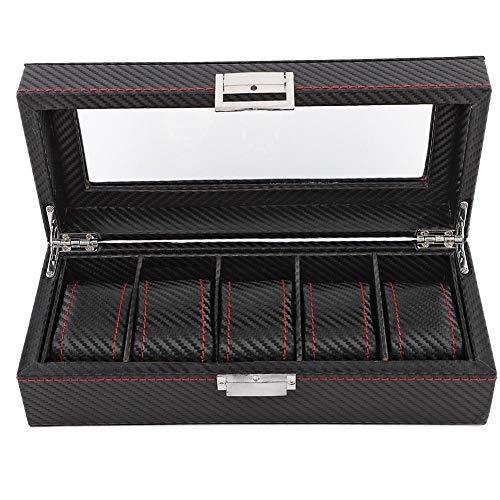 Greensen Uhrenbox mit 6 Fächern Uhren Aufbewahrungsbox, Uhrenschatulle Vintage Uhrenkoffer mit Glasdeckel, Uhrenschachtel aus Kohlefaser Uhrenkasten für Aufbewahrung und Display, Schwarz