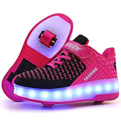 Moquite Zapatillas deportivas para niños con ruedas para niños y niñas, con luces LED, recargable por USB, automática, retráctil, técnicas, para skateboarding, Rosa 2 ruedas, 33 EU