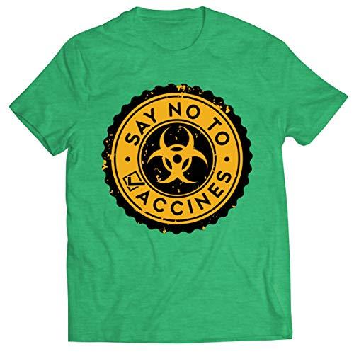 lepni.me Camisetas Hombre Di no a Las Vacunas Lema de Seguridad contra la Vacunacin Obligatoria (M Brezo Verde Multicolor)