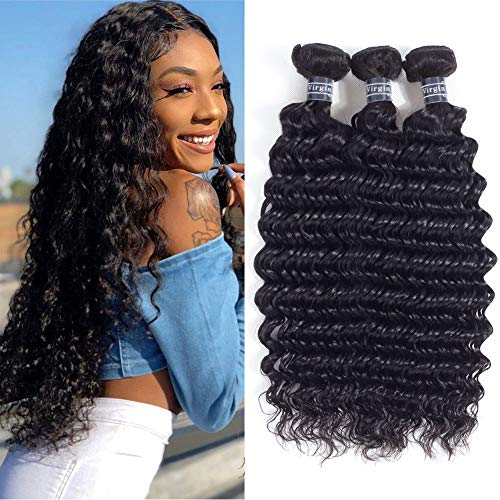 Amella Hair 8A Grade Brazilian Hair Deep Wave Virgin Human Hair Extensions Brazilian Curly Hair Weave 3 Bundles Unprocessed Natural Color(12'' 14'' 16'')