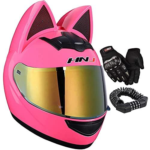 MOMOJA Cascos Integrales De Motocicleta Cat Ears Cascos Abatibles para Mujer Cascos De Bicicleta De Carretera, Visera Dorada, con Guantes Gratuitos Y Bloqueo De Contraseña Aprobado ECE D,XL(60-62cm)
