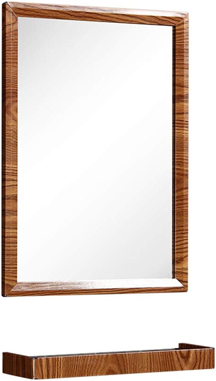 Mirror, Wall-Mounted Bathroom Mirror with Shelf Bathroom Mirror Makeup Mirror + Makeup Frame 40  55cm