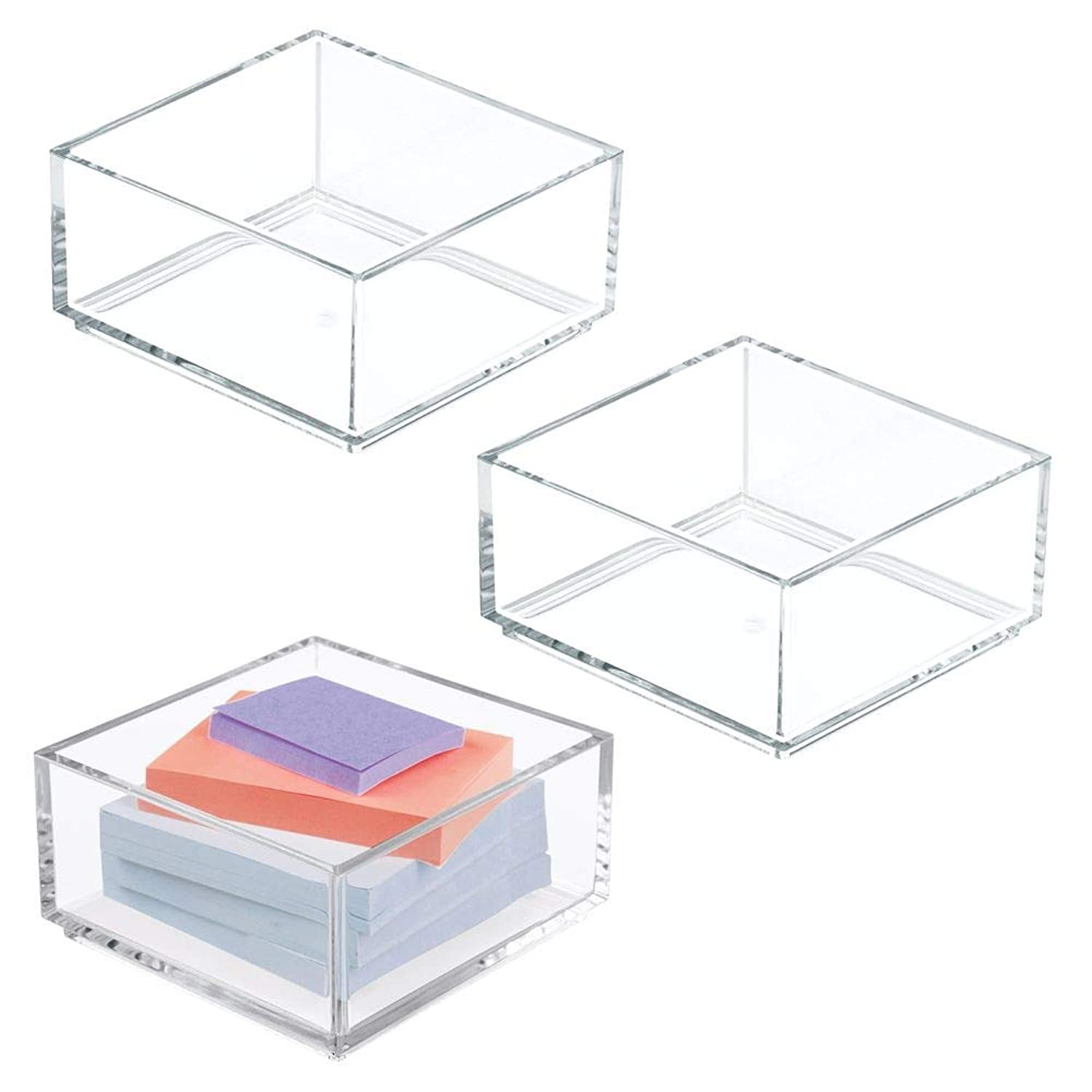 mDesign Plastic Stackable Drawer Organizer for Home Office, Desk Drawer, Shelf or Closet to Hold Staples, Highlighters, Adhesive Tape, Paper Clips, Stamps - 4
