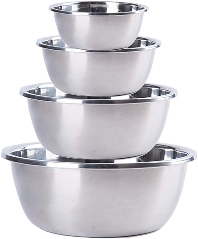 Mirenlife 18 8 Stainless Steel Mixing Bowls Set Of 4 Polished Mirror Finish Nesting Bowls 2 5 3 25 4 5 5 Quart Cooking Supplies