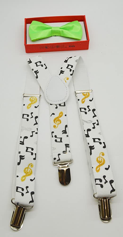 Cute Suspender and Neon Green Bow Tie for Toddler Baby Boys Girls Child