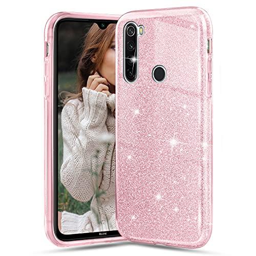 Glitter Cover per Xiaomi Redmi Note 8, Crystal Glitter Ultra Sottile Morbido TPU Silicone Trasparente Case Colorate Brillantini Protettiva Antiurto Hybrid Semi Rigida Custodia, Rosa