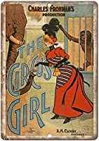 サーカスの女の子、ブリキのサインヴィンテージ面白い生き物鉄の絵の金属板ノベルティ