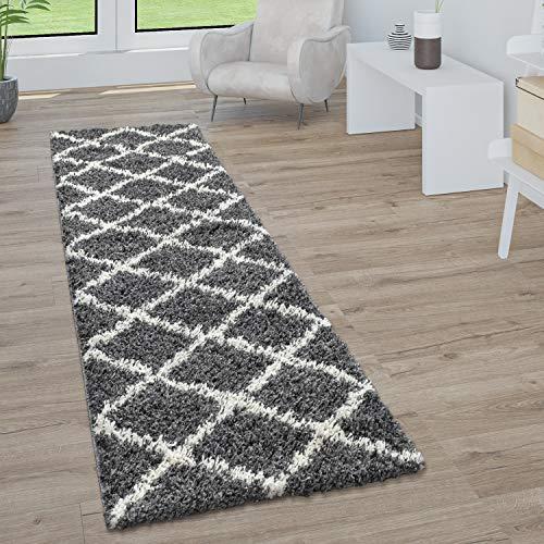 Alfombra De Pelo Largo, Suave Salón Shaggy Estilo Escandinavo Motivo De Rombos, tamaño:60x100 cm, Color:Antracita