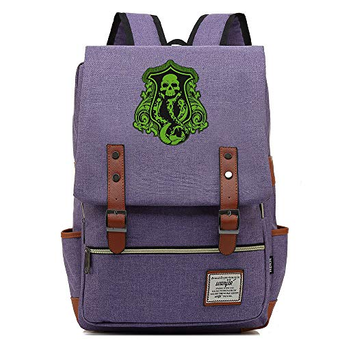 NYLY Niño Retro Mochila Colorida Mochila Malvada Slytherin Verde Serpiente patrón Bolsa L Púrpura