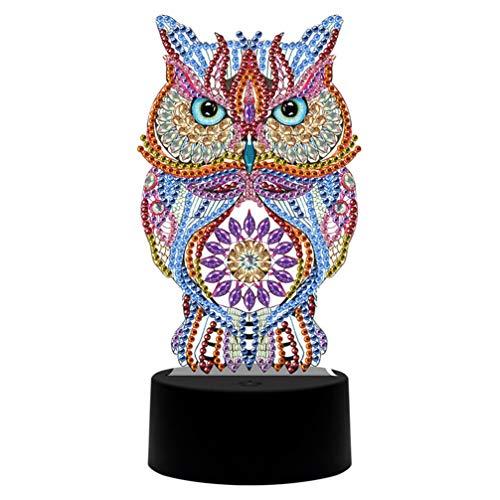OSALADI 1 Satz LED Diamant Malerei Lampe Vollbohrkristall Zeichnung Eule Lampe Kit Nacht Nachtlicht Handwerk für Die Heimdekoration