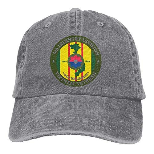 NOBRAND Secado Rápido Dad Hat,Cómoda Sombrero De Deporte,Transpirable Ocio Sombrero,Novena Infantería Division Vietnam Veteran Decal Hombres O Mujeres Ajustable Denim Jeans Gorras De Béisbol