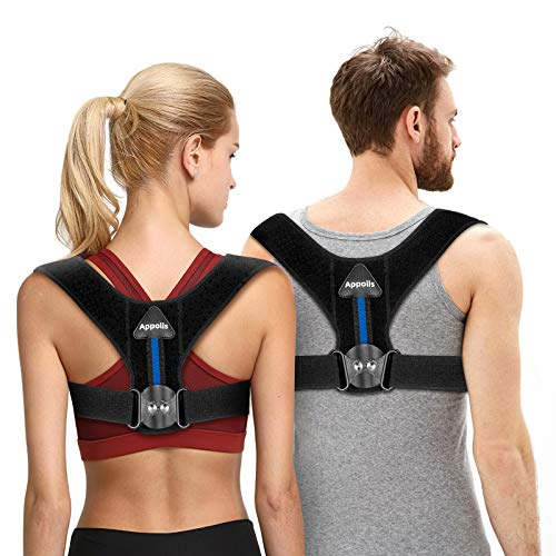 Upgraded version Posture Corrector for Men & Women, APPOLIS Adjustable Gear Design Back Straightener, Breathable Clavicle Support, Providing Pain Relief From Neck, Back and Shoulder