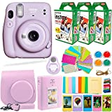 Fujifilm Instax Mini 11 Camera with Fuji Instant Film (60 Sheets) & Accessories Bundle Includes Case, Filters, Album, Lens, and More (Lilac Purple)