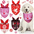 4 Pieces Valentine's Day Dog Bandana Breathable Triangle Dog Scarf Adjustable Dog Bib Reversible Dog Bandana Pet Scarf for Pet Costume Supply (Multi Pattern)
