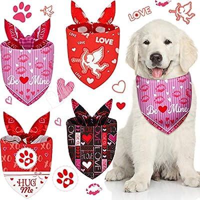 4 Pieces Valentine's Day Dog Bandana Breathable Triangle Dog Scarf Adjustable Dog Bib Reversible Dog Bandana Pet Scarf for Pet Costume Supply (Multi Pattern)