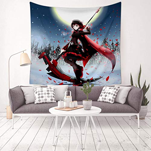 MARI DM Ruby-Rose-RWBY Tapestry Wall Hanging Home Decor 3D Blanket for Bedroom Living Room Dorm 59.1 X 59.1 Inch