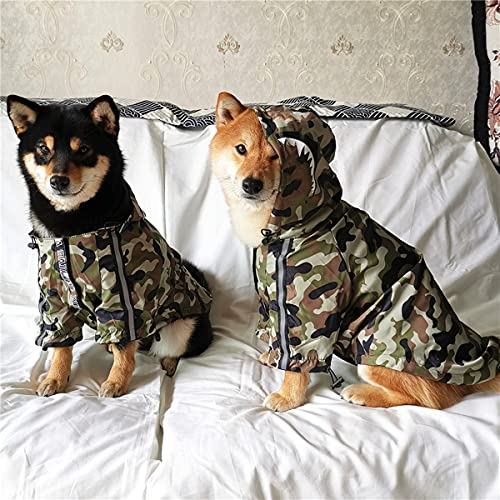 """""""The Puppy Fans"""" Dog Jacket for Small Medium Large Dog Waterproof Dog Light Weight Raincoat Bulldog Clothes Mesh Padded Coat for All Seasons (Camouflage Green, 4XL)"""