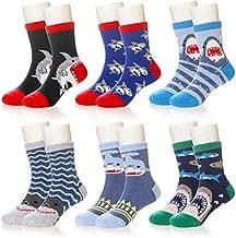 Kids Boy Girls Wool Socks Soft Warm Wool Thick Thermal Winter Animal Crew Socks For Children Toddlers 6 Pairs (Shark, 4-7X)
