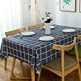 Plaid Embroidered Fabric, Rectangular Tablecloth, Cotton Tablecloth, Dustproof And Antifouling, Can Be Used For Family Picnics, Dining Tables, Living Room Home Decoration. Dark Blue, Size 100x160cm.