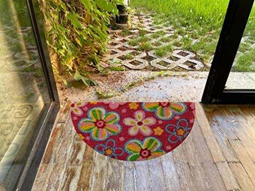 LucaHome - Felpudo Coco Natural 40x70 Antideslizante, Felpudo de Coco Flores, Felpudo Absorbente Entrada casa, Ideal para Exterior o Interior