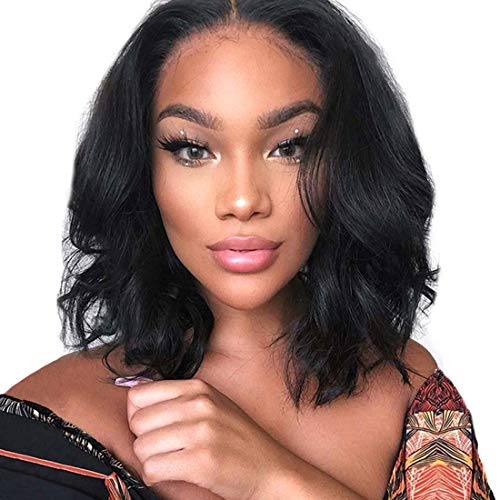 PORSMEER Perruques noire femme Naturelle Lace Hairline Frontal Wig perruques de cheveux ondulés naturels cheveux courts bouclés perruques pour femmes