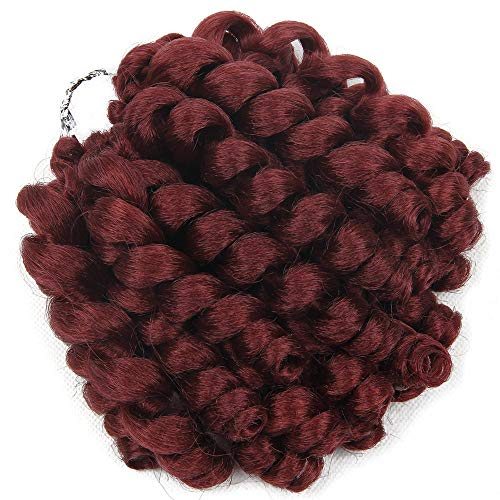Perruque Jamaican Bounce Crochet Hair Ombre Jumpy Wand Curl Synthetic Braiding Curly Crochet Braid Twist Hair Extensions- # Burgundy_8Inches