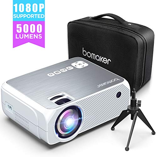 【2020 Upgrade】Beamer 5000 Lumen Native 720p Unterstützt 1080P Full HD BOMAKER Projektor Max. 250'' Display Mini LED kompatibel mit iPhone/Android Smart Phone/iPad/Mac/Laptop/PC (Grau)