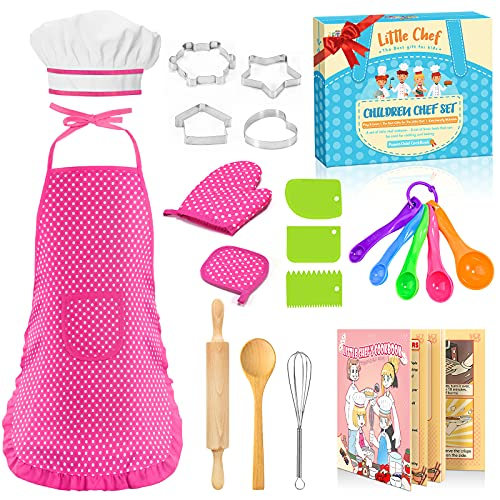 STRAWBETTER Kids Apron for Girls with Chef Hat, 20 Pcs Cooking Set, Toddler Apron, Girl Gift for 3 4 5 6 Year Old
