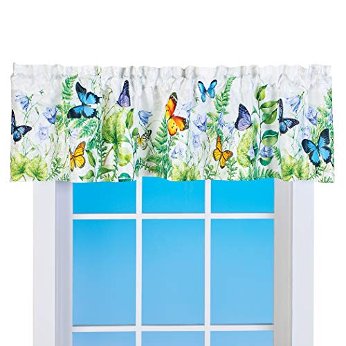 Collections Etc Garden Oasis Butterfly Leaf Window Valance