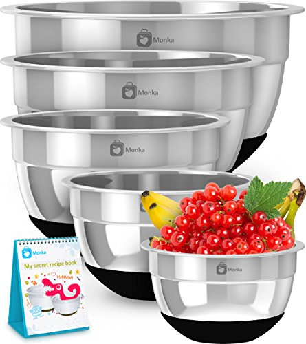 Premium Stainless Steel Mixing Bowls With Non Slip Bottom Set of 5 Sizes 8 5 3 17 075 QT For Healthy Meal Nesting and Stackable MONKA