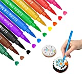 Edible Markers for Cookies Food Coloring Pens 10Pcs, Fine and Thick Tip Food Grade Gourmet Writers...