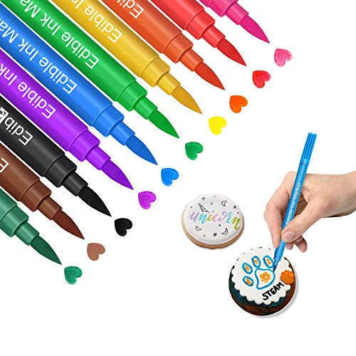 Edible Markers for Cookies Food Coloring Pens 10Pcs, Fine and Thick Tip Food Grade Gourmet Writers for DIY Fondant Cakes Frosting Easter Eggs Baking Party Decorating Drawing Writing