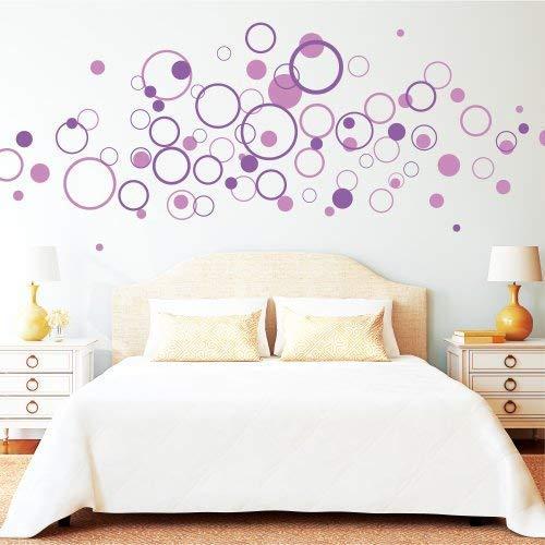 Set de 80 stickers muraux Motif cercles Bicolore 40 de chaque Couleur au choix à transmettre lors de la commande ou par e-mail 3-18 cm