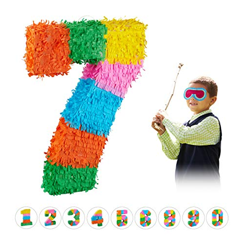 Relaxdays 10025189_909 Pinata Geburtstag, Zahl 7, zum Aufhängen, Kinder & Erwachsene, Papier, zum selbst Befüllen, Piñata, bunt