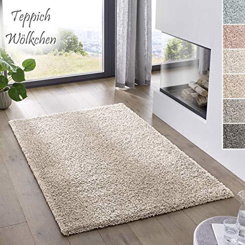 Teppich Wölkchen Shaggy-Teppich | Flauschiger Hochflor für Wohnzimmer, Kinderzimmer oder Flur Läufer | Einfarbig, Schadstoffgeprüft, Allergikergeeignet I Creme - 90 x 300