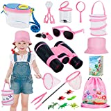 GiftInTheBox Outdoor Explorer Kit & Bug Catcher Kit for Kids with Hat, Binocular, Butterfly Net, Whistle with Compass, Magnifying Glass, Bug Collector and Backpack Toy for Boys Girls 3-12 Years Old