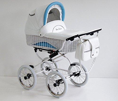 2-teiliger Kinderwagen. Klassiker. Hergestellt aus Weide und Leder. Märchenhaftes Design. Weiß/ Blau. Scarlett.