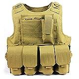ATAIRSOFT Caza táctica Chaleco Militar Estilo Molle Chaleco Portador Estilo FSBE con 7 Bolsas modulares Personalizables DE