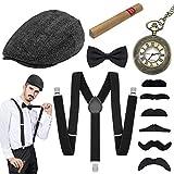 WEARXI 20er Jahre Accessoires Herren - Gatsby Hut Herren Kostüme Hosenträger Herren Mafia Kostüm...