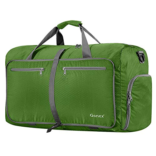 Gonex 80L Packable Travel Duffle Bag Foldable Duffel Bags for Luggage Gym Sports Camping Travelling Cycling Storage Shopping Water & Tear Resistant Green