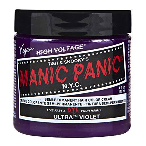 Manic Panic Ultra Violet Purple Color Cream – Classic High Voltage - Semi-Permanent Hair Dye - Deep Blue Violet Shade - For Dark, Light Hair – Vegan, PPD & Ammonia-Free - Ready-to-Use, No-Mix Coloring