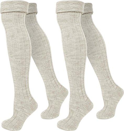 2 Paar Grob Strick Overknees für Teenager und Damen Super Weich und wärmend Farbe Wollweiss Größe 35/38