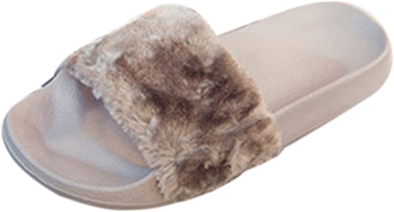 Rather be Womens Ladies Slip On Sliders Fluffy Faux Fur Flat Slipper Flip Flop Sandal Feminine Charm Sandals Female Fashion Slipper